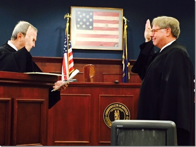 FAMILY COURT JUDGE W. MITCHELL NANCE, right, was sworn in by then-Circuit Judge Phillip Patton in January 2015.  Nance resigned effective December 16, 2017.