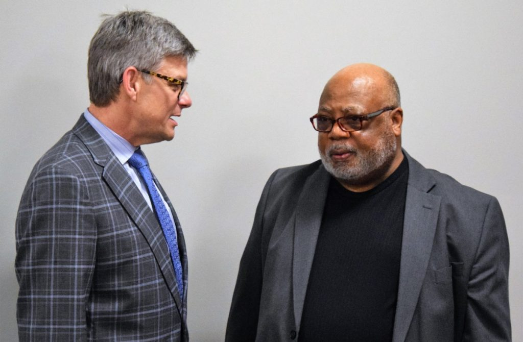 HORSE CAVE MAYOR Randall Curry, right, visits with his counterpart, Glasgow Mayor Dick Doty, following Curry's talk at WKU-Glasgow last Thursday.  Jobe Publishing photo.