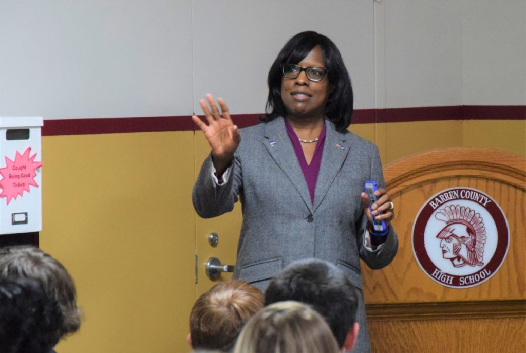 LT. GOVERNOR JENEAN HAMPTON spoke to students enrolled at Barren County Schools' College Street Campus as well as students from Glasgow Independent Schools' Alternative School on Monday morning.  Barren County Progress photo.