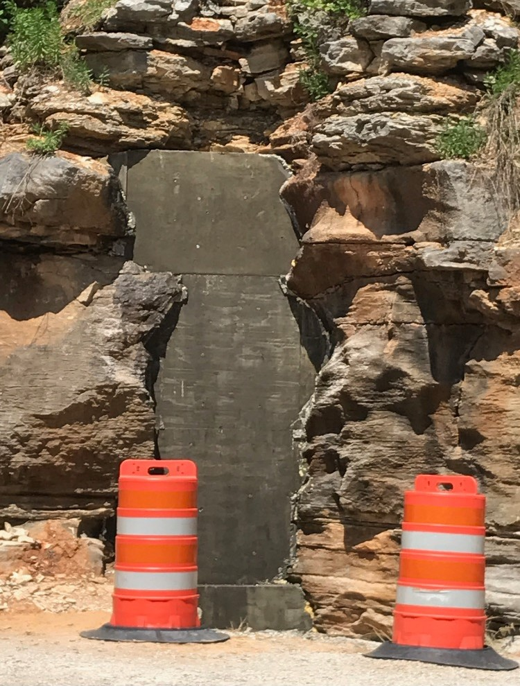 THE ENTRANCE to Wonderland Cave has now been filled with concrete, leaving cave owner Robert Guy Dyer unable to access his property.