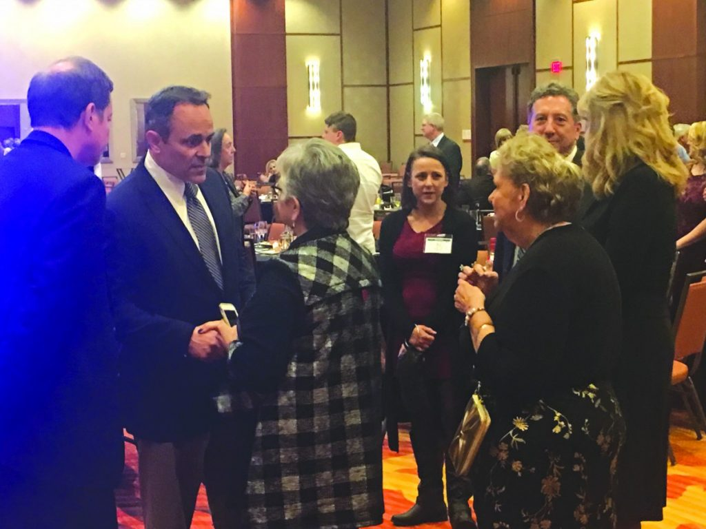 Gov. Matt Bevin enjoyed chatting with Kentucky editors and publishers at the 150th anniversary of the Kentucky Press Association.