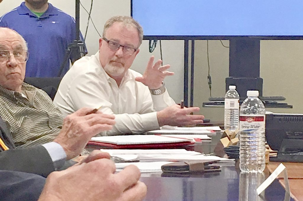 GEPB Board member Marlin Witcher, left, listens to the discussion with GEPB Board Secretary Tag Taylor, right, during the February 19, 2019 meeting. It is Taylor's compliance with The Barren County Progress' Open Records Request that exposes GEPB Superintendent William Ray's use of private email.