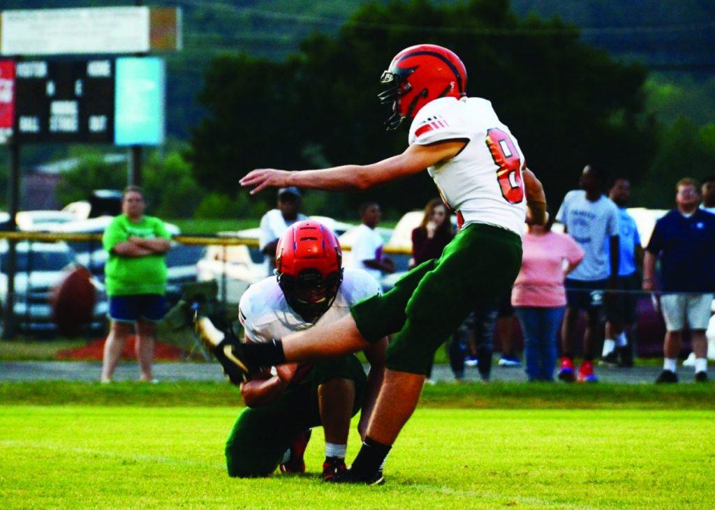 Ethan Chenoweth kicks one of many extra points for Hart County. Photo by George Katchak Jobe Photographer